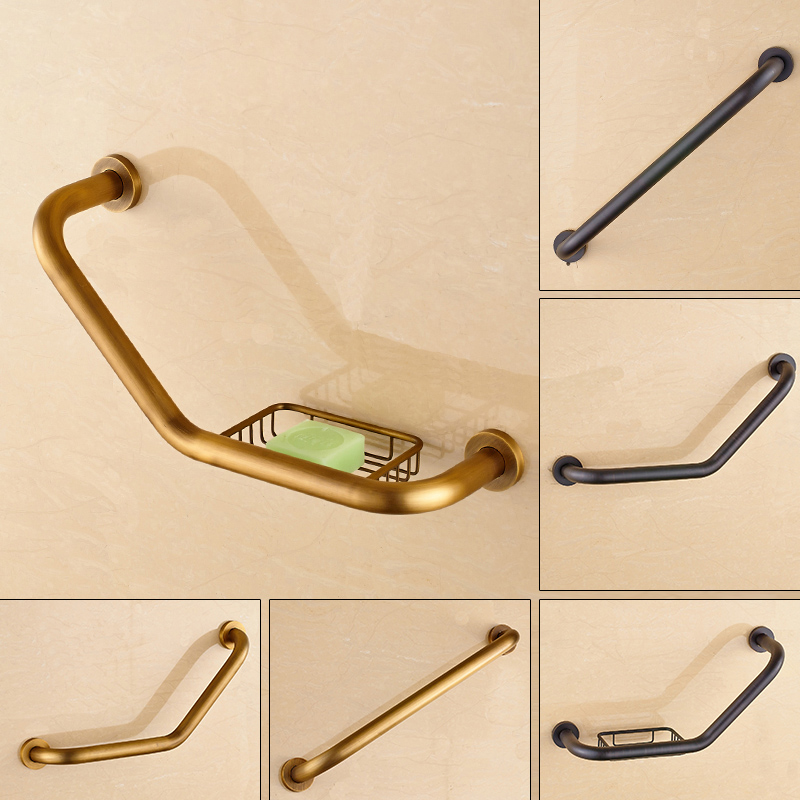 Wall Mounted Brass Grab Bars For Bathroom Antique Brass/Black Safty Bar Bathtub Hand Rails Soap Dish Free Shipping free shipping wall mounted brass door stopper suitable for interior doors door holders for sale high suction 356g