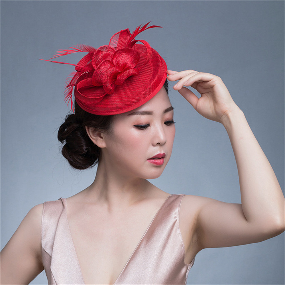 ShanFu Vintage Linen Hat Hair Clips for Women Feather Fascinators Flower Headband Hair Accessories for Wedding Party