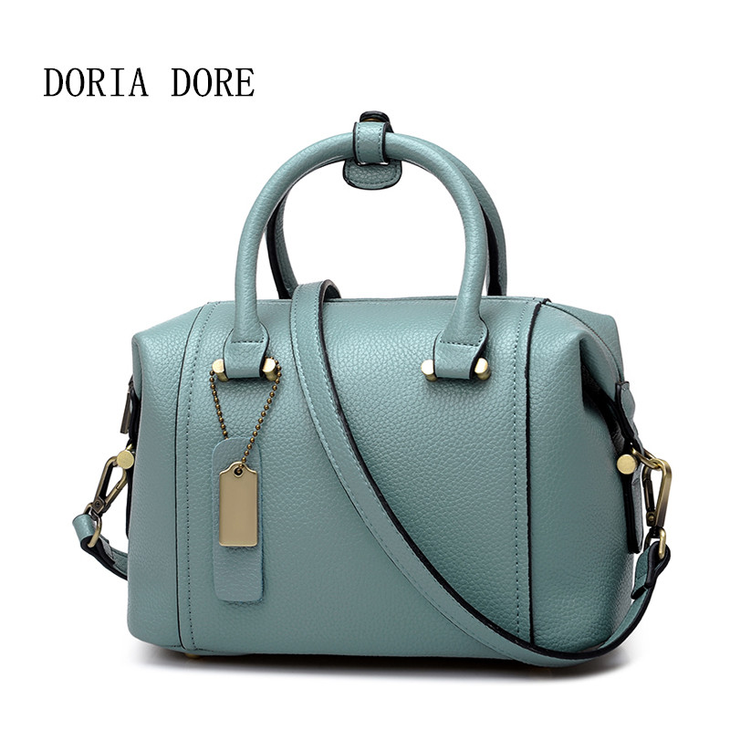 DORIA DORE Famous Brand Women Solid Pillow Handbags Ladies Genuine Leather Soft Boston Bags Girls Large Capacity Top-Handle Bags