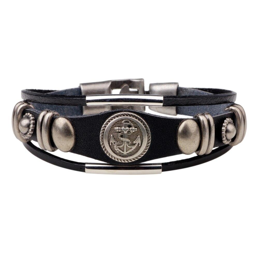 Er 2017 Women Nautical Anchor Bracelet Mens Punk Genuine Leather Wrap  Braclet Male Sport Braslet Casual Jewelry Lb202