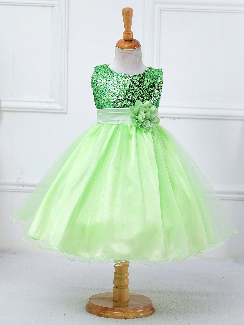 flower girl dresses sequined with belt children christmas costumes for toddler teen age size 4t 5t
