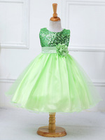 Flower girl dresses sequined with belt children christmas costumes for toddler teen age size 4t 5t 6 7 8 9 10 11 12 13 14 years