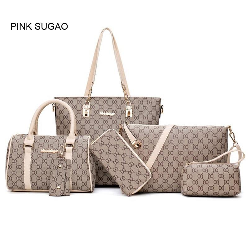 Pinksugao luxury handbags women bags designer travel purse tote bag set six bags for women 2019