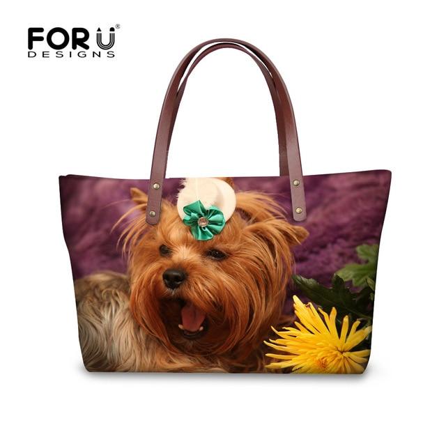 e8499df51b FORUDESIGNS mignon 3D Yorkshire Terrier chien femmes sac à main mode femme  fourre-tout bandoulière