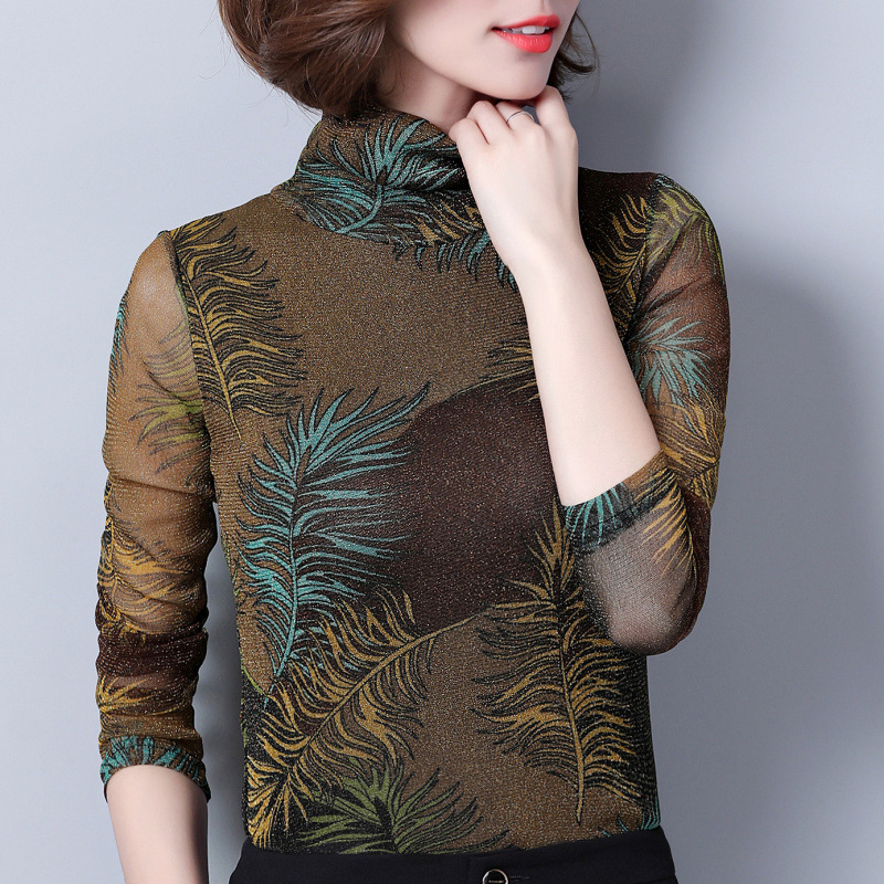 Femelle Hiver Automne Épais Mode Col Gros Feuilles Mince Sous rouge Chaud Vert T De Femmes Imprimer Shirt Plus Velours Chemises Américain En Roulé w4Eq5a7n