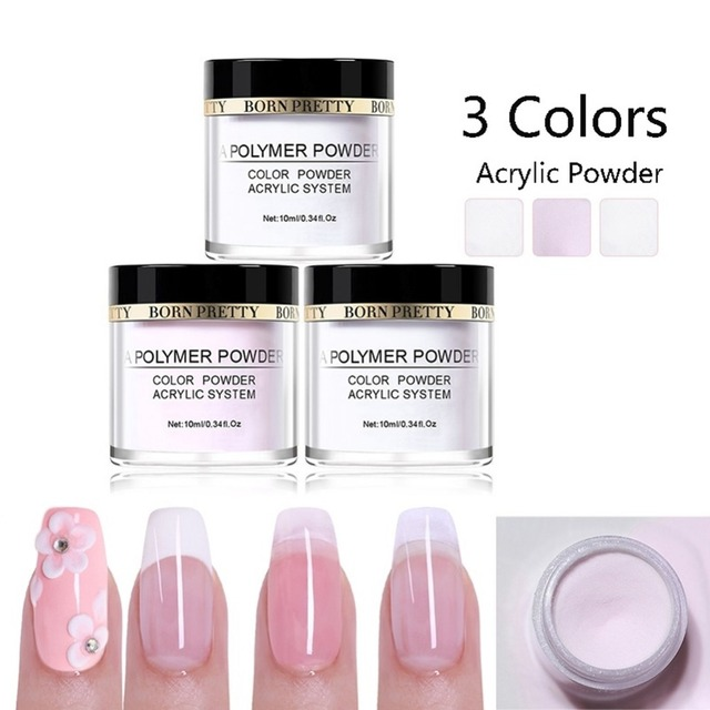 Born Pretty 10ml Pink White Clear Acrylic Powders For Nail Extension Art Builder Polymer