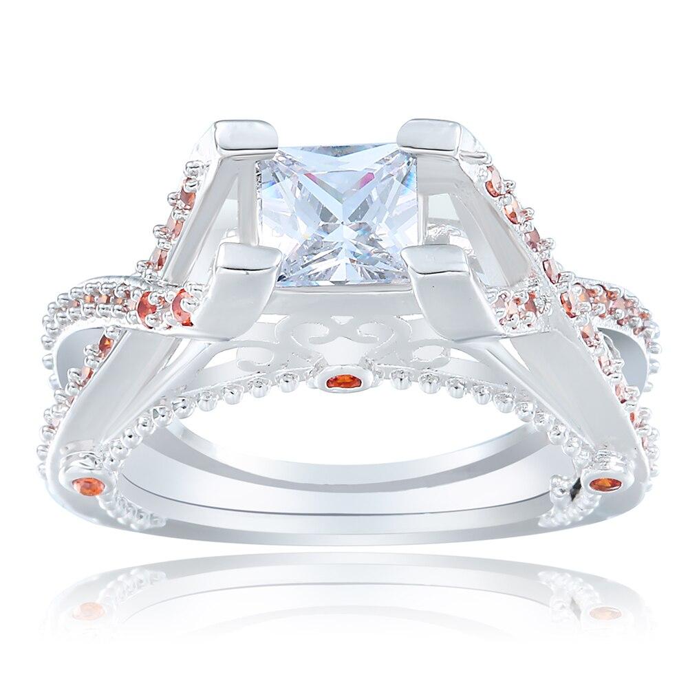 Женские engaegment кольцо для любовника Orange голубой циркон большой крест Лидер продаж с серебряным покрытием женщины Promise Ring ювелирные изделия о...