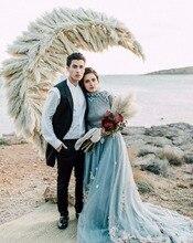 Vintage gri mavi yüksek boyun uzun kollu romantik çiçekler tül A Line yeni müslüman arap düğün elbisesi Boho Sofuge Vestido De yok