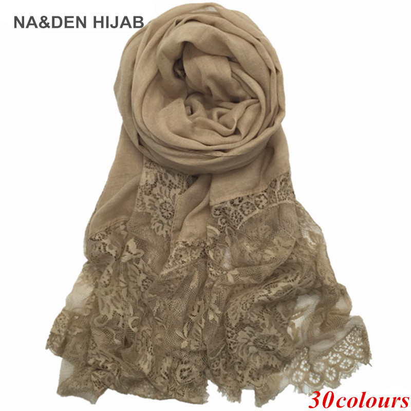 1PCS Hot Sale Fashion Cotton And Viscose Lace Scarves Muslim Head Scarf Shaws Soild Elegant Lady Simple Flowers High Quality