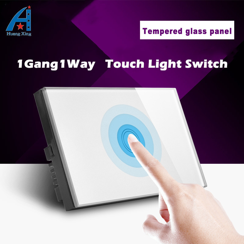 HUANGXING, AU/US Standard Light Switch 1Gang1Way Touch Switch, White Tempered glass Panel Wall Switch, With LED Indicator 220V free shipping us au standard wall touch switch gold crystal glass panel 1 gang 1 way led indicator light led touch screen switch