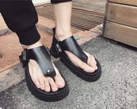 Летние мужские шлепанцы в южнокорейском стиле с толстой подошвой, сетчатые шлепанцы, Мужская трендовая пляжная обувь, сандалии на ремешках