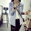 Blusa a rayas de Manga Larga de Las Mujeres Blusas 2016 de La Moda Lindo Gato/de Dibujos Animados Bordado Ocasional Camisa Blusa Tops Ropa Mujer S2801