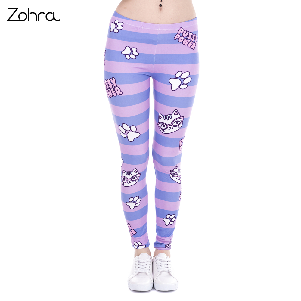 Zohra Hot Sales Fashion Women Leggings Pusy Power Pink Stripes Printing Cats Fitness -8432