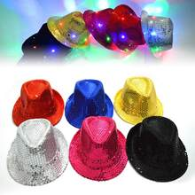 9c3dcd2c40803 Adult Kids Fashion LED Light Up Flashing Sequins Solid Color Dance Party  Hat Cap(China