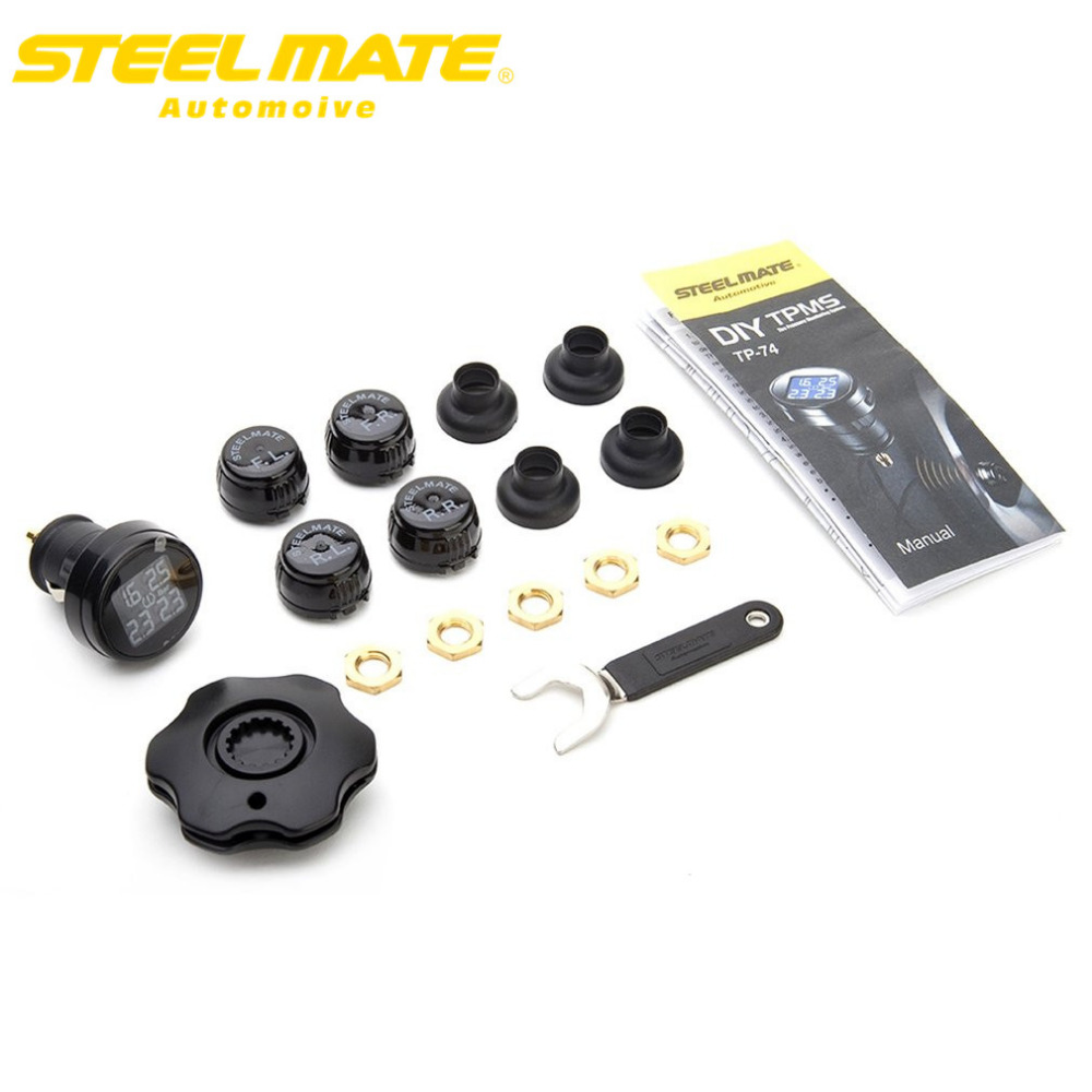 Steelmate 2017  TP-74 Car TPMS DIY Tire Pressure Monitor System car Alarm LCD Display with 4 External Sensors hot sale tpms tp620 car tire tire pressure alarm car tire diagnostic tool support bar and psi tire pressure monitor car electronics