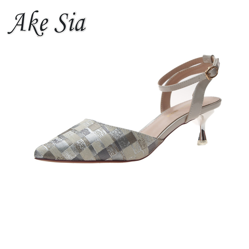Spring summer new 2019 fine with single shoes shallow mouth ladies pointed Pumps sandals women fashion comfortable high heels