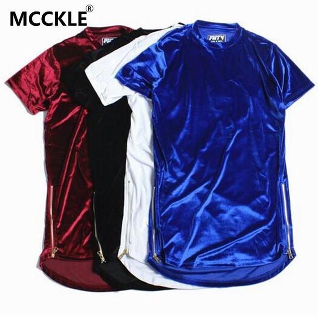 New Fashion Men Oi-Rua Estendido Camisa de Veludo Dos Homens Hip Hop espinhel Camisetas Ouro Zíper Lateral Veludo Curvo Hem Tee Q1974