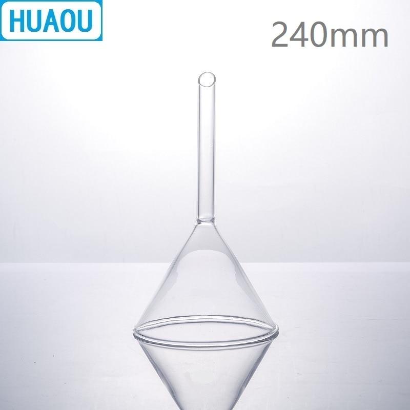 HUAOU 240mm Stripe Funnel Short Stem 60 Degree Angle Neutral Glass Laboratory Chemistry EquipmentHUAOU 240mm Stripe Funnel Short Stem 60 Degree Angle Neutral Glass Laboratory Chemistry Equipment
