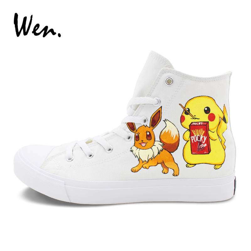 Wen Custom Hand Painted Canvas Shoes Design Pokemon Shoes Pikachu Umbreon Eevee Anime Sneakers Man Woman Flat Footwear