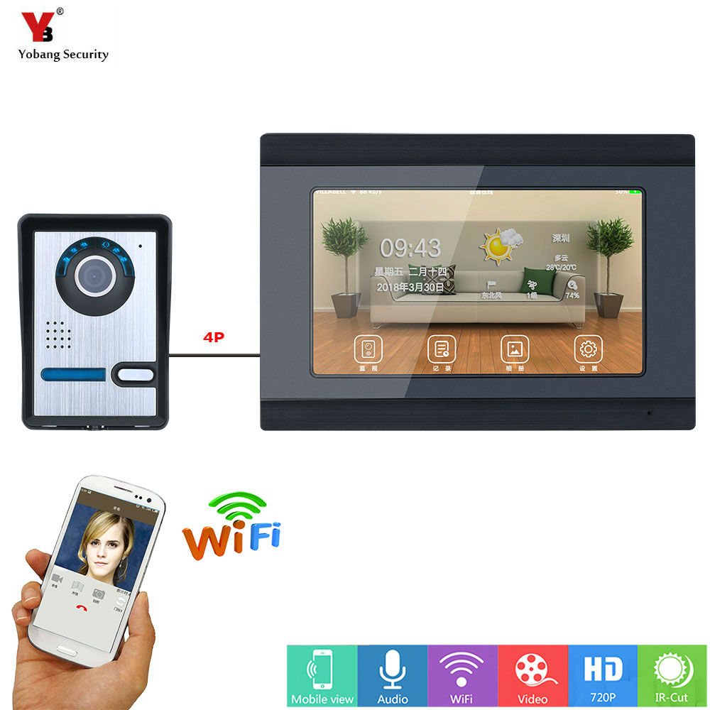 YobangSecurity Remote Control Video Intercom 7 Inch Monitor Wireless WIFI Video Door Phone Doorbell Camera Intercom
