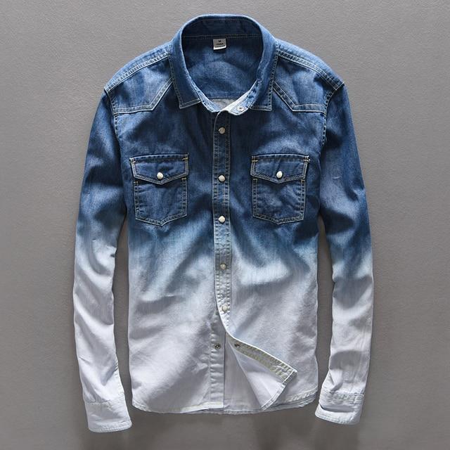 huge discount d3a65 7f309 US $24.62 10% di SCONTO|Camicia di Marca da uomo Suehaiwe moda jeans uomo  in puro cotone della camicia denim uomo camicia primavera mens camicia ...