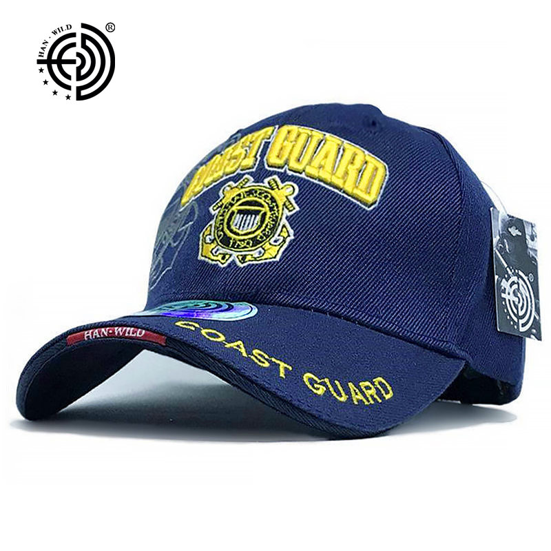 HAN WILD Brand Army Embroidery Hats Casual US Navy Baseball Caps Holiday Polyester Army Fans Tactical Cap USA Coast Guard Letter