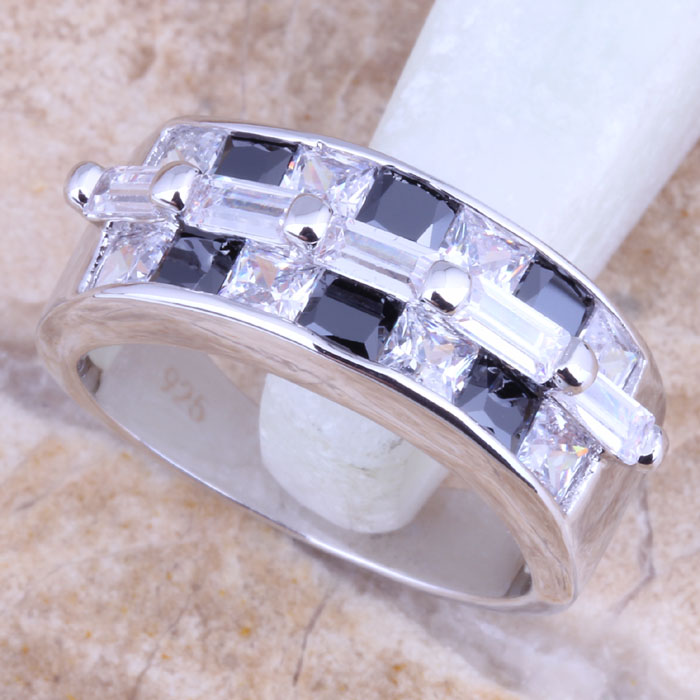Black Resin /& Clear CZ Ring Size 5 7 8 9 10 Affordable Cubic Zirconia Jewelry