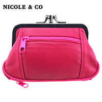 NICOLE & CO Genuine Leather Coin Purse Womens Sheepskin Change Purse Metal Hasp Closure Card Holder Wallet Zipper Small Bag