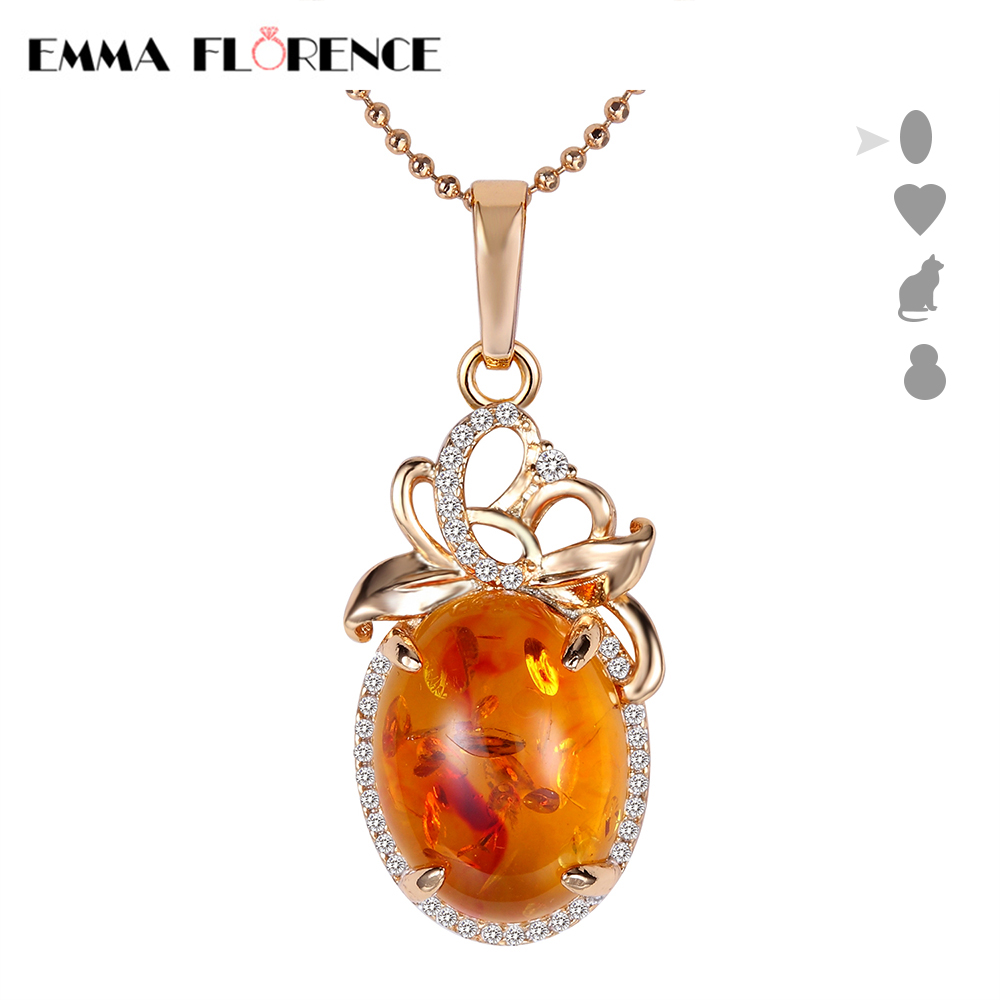 Brand 18K Gold Plated Women Necklaces 4 Options Luxury stone Dangles Beautiful Amber Pendant Necklaces Wholesales