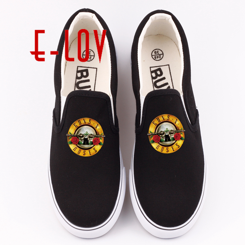 E-LOV New Arrival Casual Canvas Shoes Printed Gan N Roses Rock Band Flat Shoes Hip Hop Unisex Slip On Shoes Women Footwear