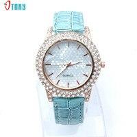 2017 New Arrival Luxury Women Watches Diamonds Bezel Clocks Fashion Casual PU Strap Quartz Wrist Watch Creative Apr25