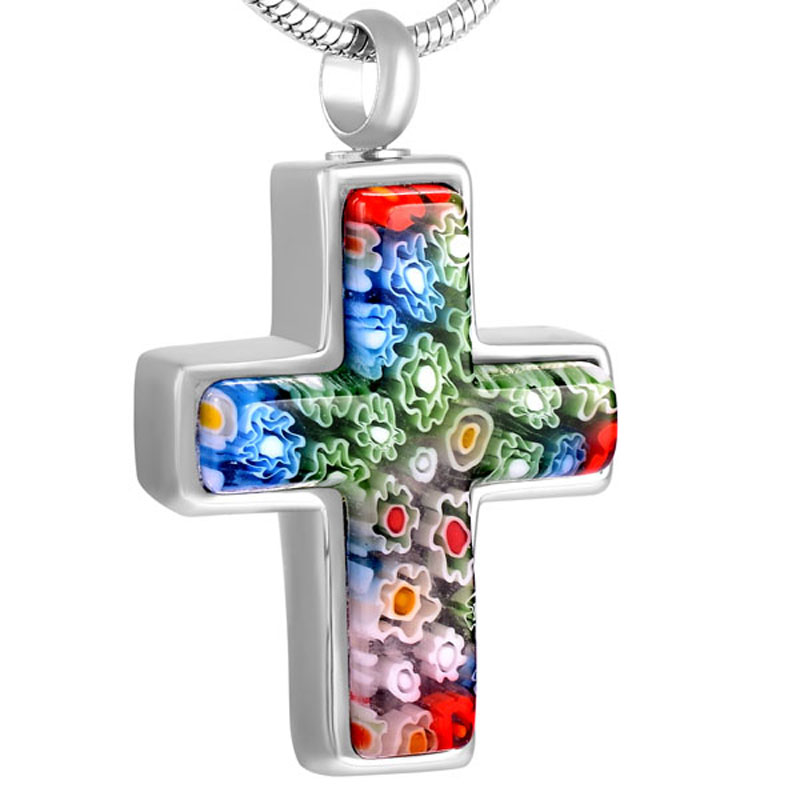 JJ8546 Murano Glass  Cross Cremation Pendant Urns For Ashes - Engravable Stainless Steel Keepsake Memorial Jewelry Necklace 1