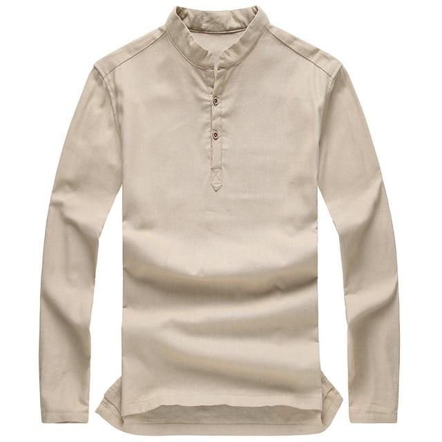 d9b2a4862e Quality Fashion Men s Pullover Shirt Long Sleeve Linen Shirts Stand  Mandarin Collarless Shirt for Men Casual Camisas Manga Longa