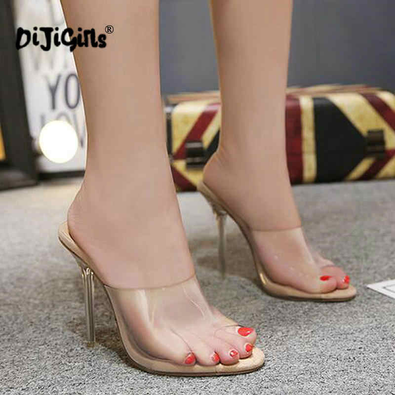 d8ad00347b dropship Fashion PVC Jelly Sandals Open Toe High Heels Women Transparent  Perspex Slippers Shoes Sandals Apricot