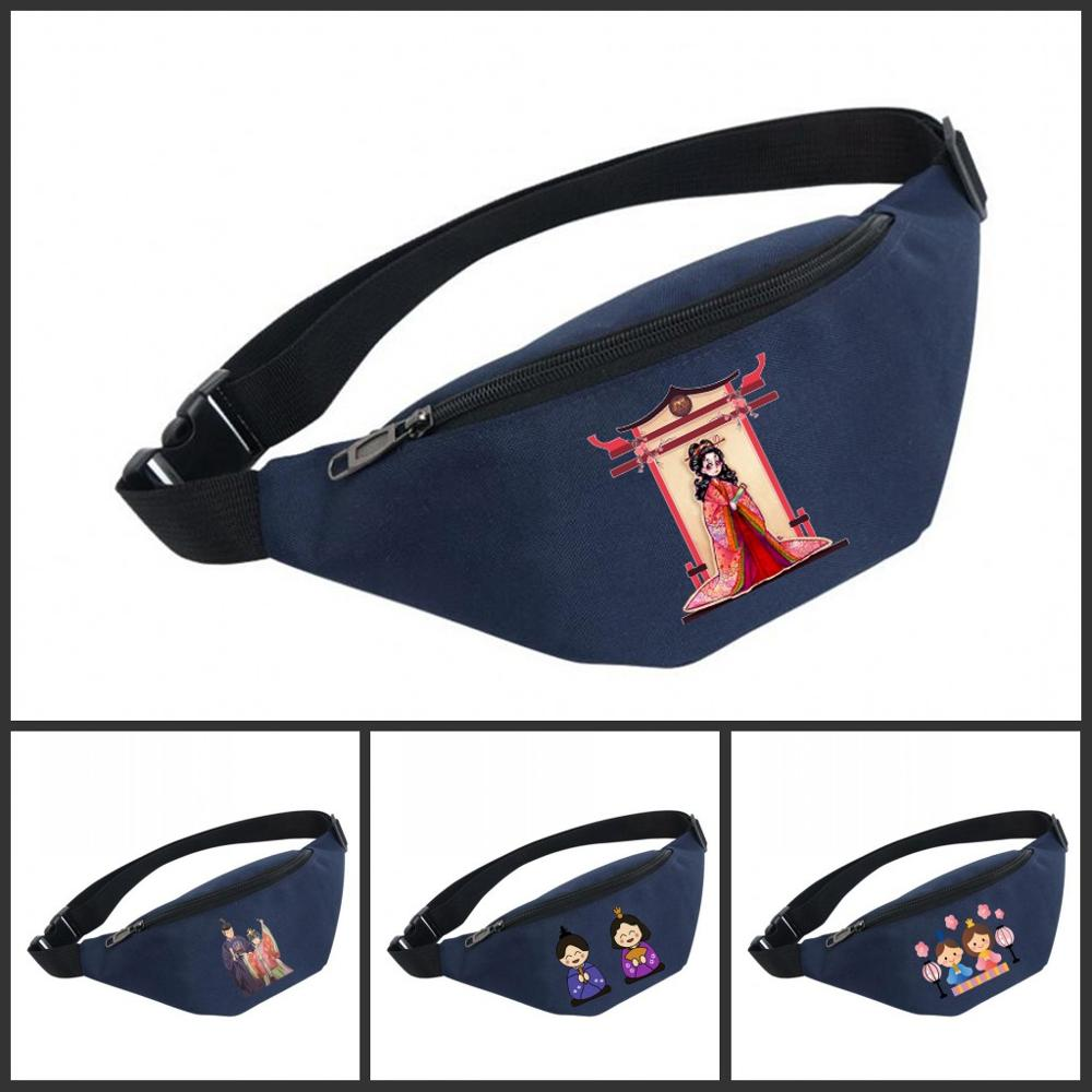 Waist Bag Women Belt Waterproof Chest Handbag Unisex Fanny Pack Ladies Waist Pack Belly Bags For Hinamatsuri