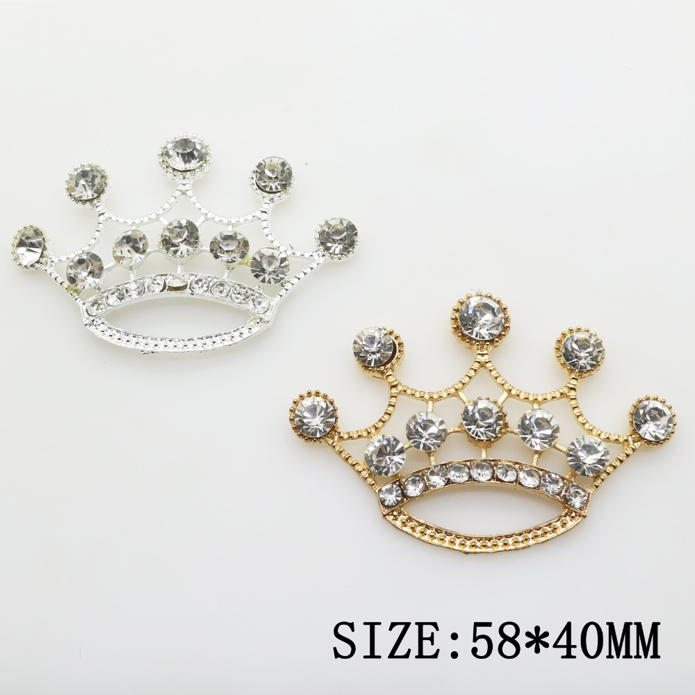 Hot 10pcs/lot 58*40mm Gold/Silver Metal Zinc Aolly Crown Rhinestone Jewelry Findings Accessories Components For Jewelry Making
