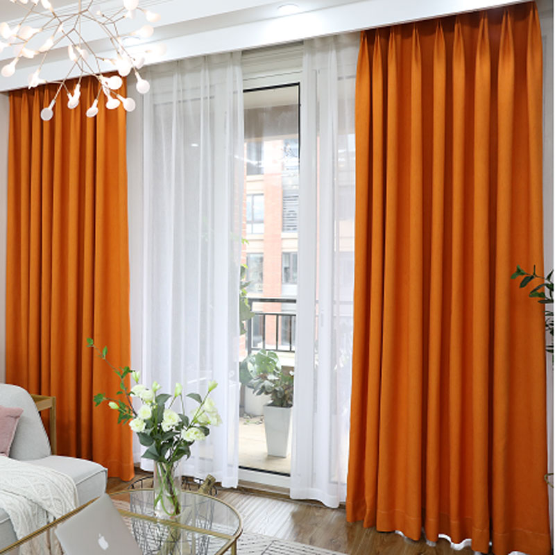US $11.84 29% OFF|Linen Modern curtain plain solid color blackout full  shade living room window curtain panel short kitchen door curtain bedro  188-in ...