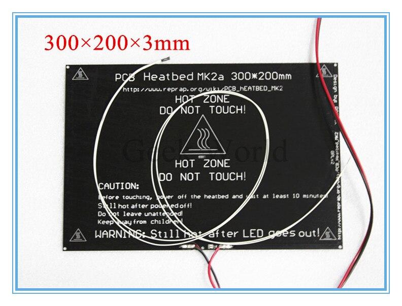 Высокое качество 2015 MK2a 300*200*3.0 мм RepRap ПЛАТФОРМЫ 1.4 печатной платы Алюминий Heatbed + <font><b>LED</b></font> резистор + кабель + термисторы