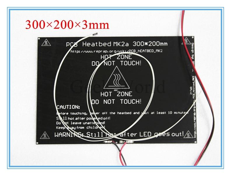 High Quality 2015 MK2A 300*200*3.0mm RepRap <font><b>RAMPS</b></font> 1.4 PCB Aluminum Heatbed + <font><b>LED</b></font> Resistor + Cable + Thermistors