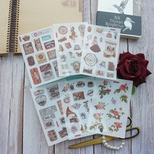 6 Sheets Lady Rose and Old Romance Time Design Washi Paper Sticker As Scrapbooking DIY Gift Packing Decoration Tag