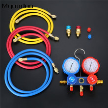 R134a R12 R22 R502 Manifold Gauge Set HVAC AC Refrigerant W/ 5ft Charging  Hoses Hook R134 Quick Couplers ACME Adapter 600Psi