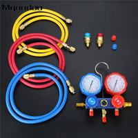 R134a R12 R22 R502 Manifold Gauge Set HVAC AC Refrigerant w/ 5ft Charging Hoses 36 Hoses R134 Quick Couplers+ACME Adapter 600Psi