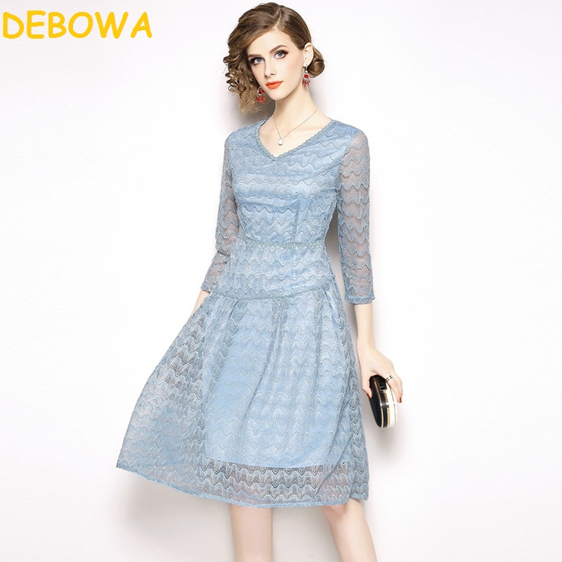 Blue Printemps Debowa Mousseline De Dentelle En Longue Atumn Light Lady Office Soie Femme Robe Patchwork Élégante Femmes Princesse Long qWqSn5U