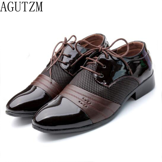 New Design Men Shoes men Leather Shoes Business Flat Black Brown Breathable Summer Autumn Dress S hoes Plus Size 38-48 Q118