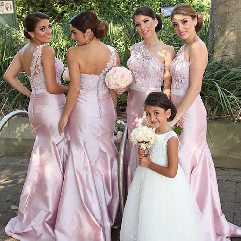 2019 Elegant Cheap Mermaid   Bridesmaid     Dresses   one Shoulder Long Wedding Party   Dress   Plus Size Maid of Honor Gowns