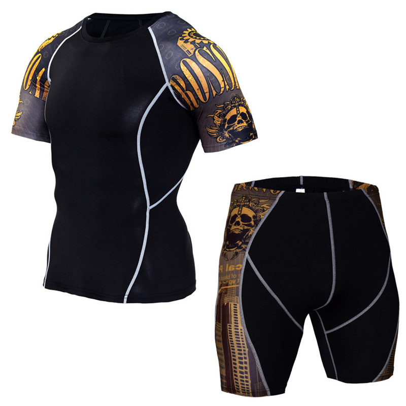 Newest Fitness Compression Sets Sport Suit T Shirt Men 3D Printed MMA Elasticity Quick Dry Short Sleeve T-shirt And Shorts Male