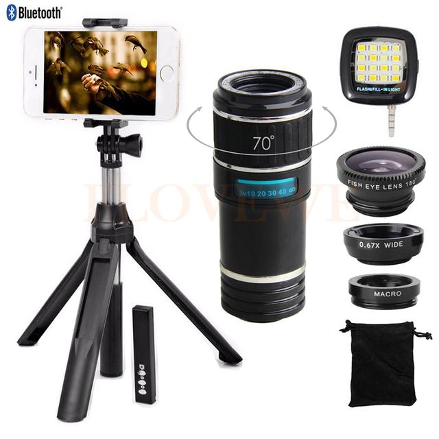 Novo Kit de Lentes Telefone 12X Zoom Telefoto Lente olho de Peixe Grande ângulo macro lentes do telescópio para o iphone 7 6 s celular bluetooth obturador