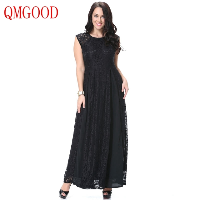 4d6ac9055a5c7 QMGOOD 7XL 6XL Lady Large Size Sleeveless Lace Dress 2017 Autumn Fat MM  Social Prom Party Black Long Dress Plus Size Clothing