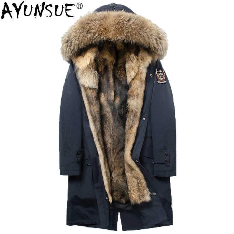 ce4ff77180ab AYUNSUE 2018 Parka Homme Real Wolf Fur Coat Men Long Winter Jacket Men  Raccoon Fur Collar