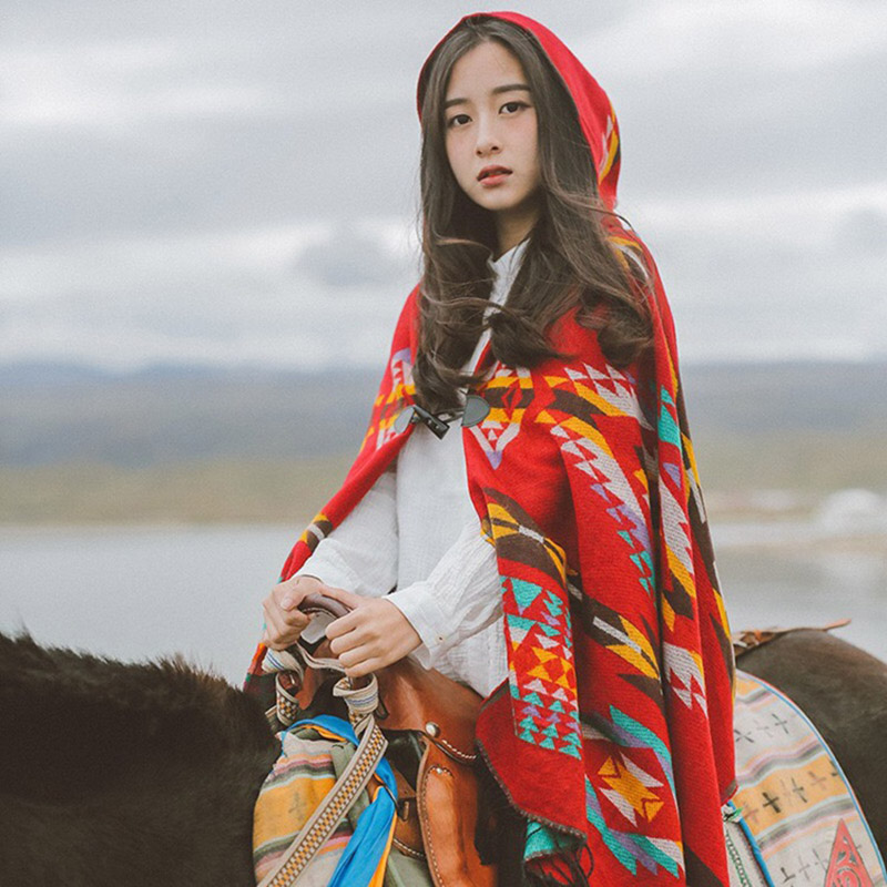 Ladies Winter Hooded Wrap Poncho Lush Cape Mantle Ponchos And Capes Aztec Outwear Casacos Femininos Tippet Ponchos Or Capes A50